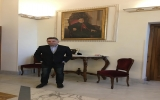 ROSSIN IN ROME, ITALY IN FRONT OF HIS PORTRAIT OF HIS HOLINESS LEBANESE PATRIARCH SPHEIR