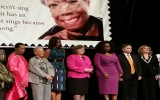 ROSSIN, FIRST LADY MICHELLE OBAMA AND OPRAH WINFRY AT THE UNVEILING OF US POSTAL FOREVER STAMP OF ROSSIN'S PAINTING OF MAYA ANGELOU