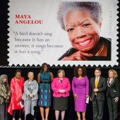 "Unveiling Ceremony of US ""Forever"" Stamp with Mrs. Obama, Oprah Winfrey, US Postmaster General Megan Brennan and Rossin, April 7th 2015 in Warner Theater, Washington DC"