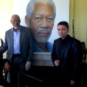 Oscar winning actor Morgan Freeman at luncheon in Millennium Gate, Atlanta unveiling his portrait by Rossin